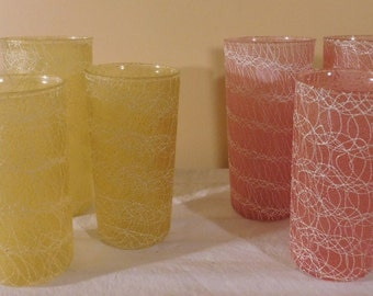 Vintage Glassware Pink Swirl Yellow Swirl Water Glass Tumbler Juice Glass