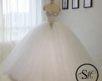 Dramatic & Luxurious Ball Gown Wedding Bridal Dress Tulle Skirt Crystals Embroidery Glitter Sleeveless X Back Lace Up Sweep Brush Train