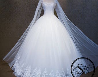 Modern Luxurious A-line Ball Gown Veil Sleeves Sleeveless Sweetheart Neckline Lace Up Wedding Bridal Dress Gown Pearls