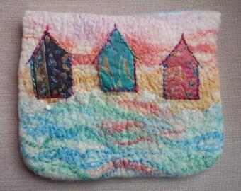 Kindle or Tablet Case or Purse ~ Beach Scene Beach Huts Sea Glass OOAK