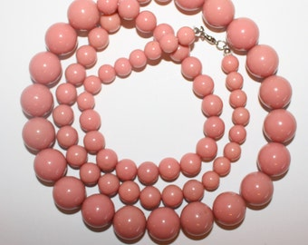 Vintage Chunky Dusty Rose Beaded Necklace