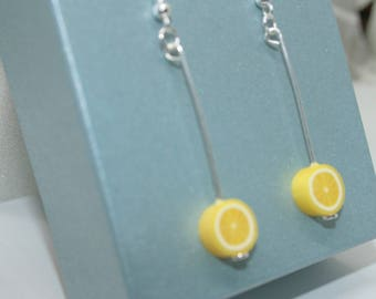 Tropical Lemon Earrings, Fruit Earrings, Lemon Slices, Tropical Fruit, Fruit Jewelry, Cute Earrings, Fruity Jewellery, Food Jewelry