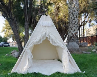 XL Shabby-chic teepee, 8ft kids Teepee, large tipi, Play tent, wigwam or playhouse with canvas and Overlapping front doors