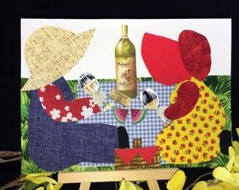 OOAK celebration card, handmade recycled fabric greeting card, blank card, retirement card, birthday card, friendship card, Anniversary card