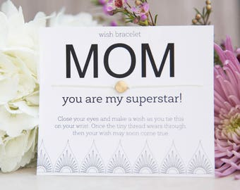 Superstar Mom wish bracelet, Mother's Day gift, Long Distance, Just Because, Congratulations, Love You, You Rock, Easy Birthday Present