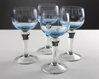 Set of 4 light blue faceted wine crystal glases, Mid Century, 20s-30s