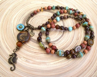 Summer long chain Brown turquoise seahorse sea horse natural stone Tiger eye