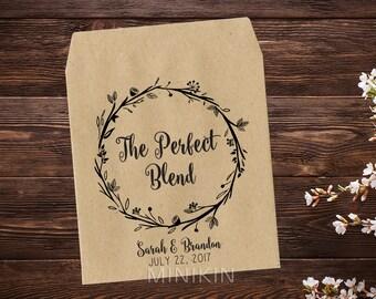 The Perfect Blend, Tea Party Favor, Tea Packet Holder, Tea Bag Favor Bridal Shower Favor, Rustic Wedding, Wedding Favor x 25
