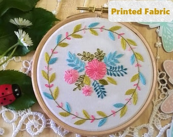 Summer time - Spring Pre Printed Fabric Pattern, Embroidery Pattern, Hoop art, Hand Embroidery kit