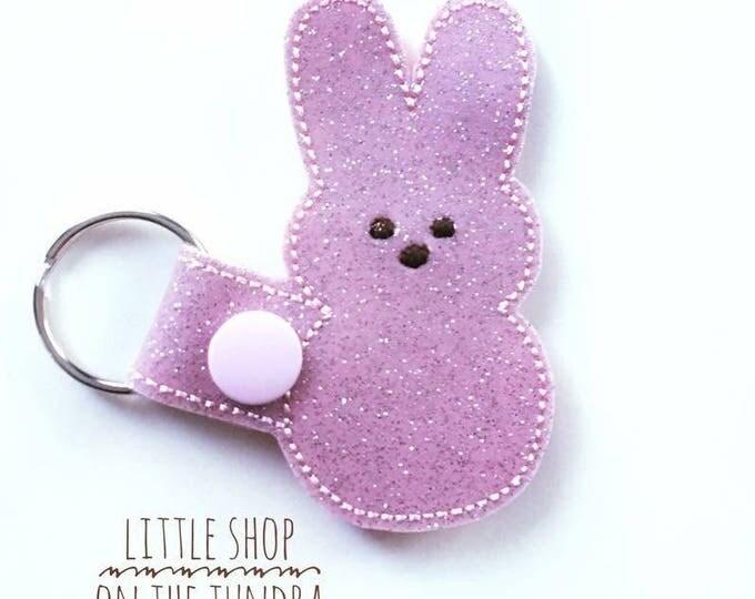 Marshmallow Bunny Snap Tab, Key Fob