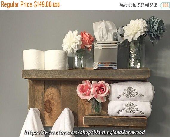 tag re de salle de bain avec crochets decor rustique salle. Black Bedroom Furniture Sets. Home Design Ideas