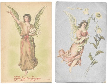 5 Easter Postcards Angels - Lillies  - Easter Greetings - The Lord Is Risen  1909 1911 1915