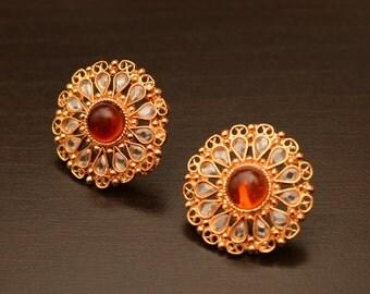 Sampada Earrings-Grand & Beautiful Earrings,Kundan Earrings,Mughal Era Jewelry,Meenakari Work,Rhinestone Jewel,Mothers Day Gift,Manoramas!