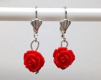 Silver Coral rose dangle earrings