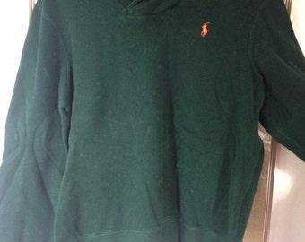 Green rollneck crew sweater with orange Ralph Lauren Polo logo, XL/L