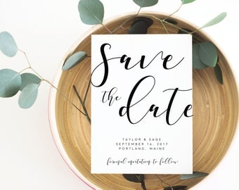 Modern Save the Date, Calligraphy Save the Date, Save the Date Printable, Save the Date Cards, Printable Save the Date, Simple Save the Date