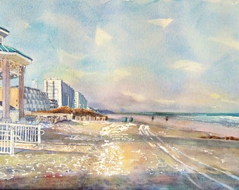Sea Isle City New Jersey NJ Beach looking north to boardwalk w Gazebo Print of an Original Watercolor Painting Beach Art Coastal Art