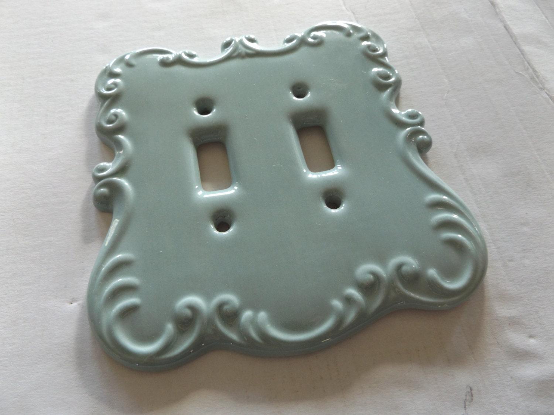 vintage ceramic teal light switch cover light switch plate. Black Bedroom Furniture Sets. Home Design Ideas