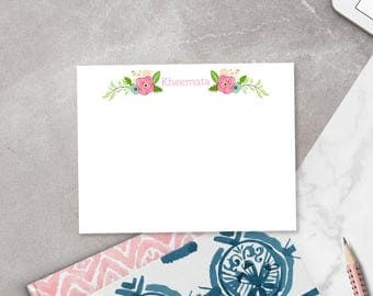 Personalized Notecard Set / Flat Personalized Stationery / Stationary Note Card Set / Pink Flowers Stationery / Vintage Flowers Stationery
