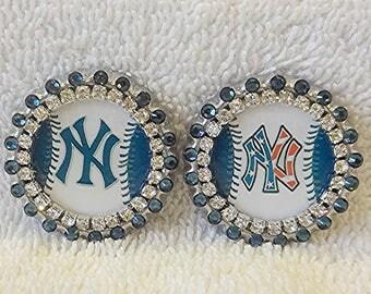 NY Yankees Pin, Swarovski Blue Rhinestones New York Baseball Pin, Yankees Inspired Team Pin