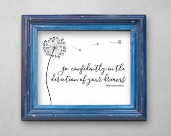 Dandelion Wishes Wall Art - New Job, Career, Graduation, Moving, Wedding Printable Gift - Quote / Poem Print - Instant Download Digital File
