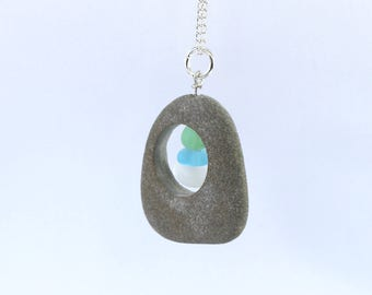 sea glass necklace beach glass pendant stone stack necklace natural rock necklace cairn necklace beach stone jewellery sea glass stack charm