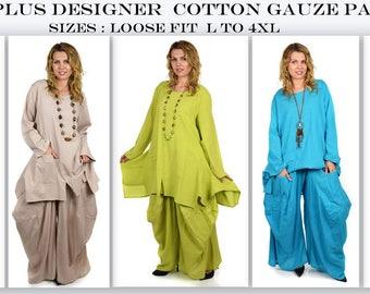 Comfyplus , Cool and comfortable Pant Set, Cotton Gauze pant set, Dual Pocket 2 PC. Pant set, Designer Pant Set. Large to 4XL
