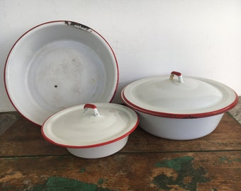 Red and White Enamelware Bowls with Lids Camping Rustic Vintage Midcentury Chippy Farmhouse Style Fixer Upper
