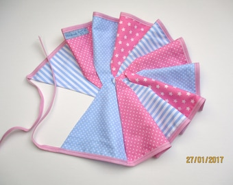 Pennant banner light blue and pink stripes and points