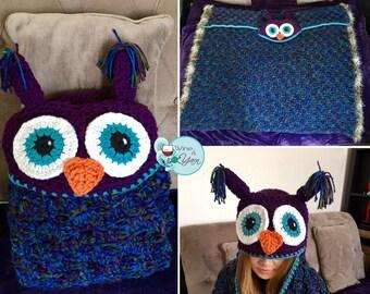 Owl Throw / Blanket with Hood