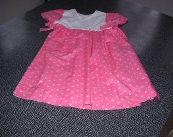 Girls Wrap Dress, Handmade Girls Dress, Girls Pink Dress, Girls Dress sz 5 Small 80s Vintage