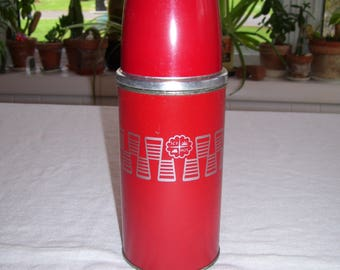 Red Thermos Icy Hot by American Thermos Bottle 8oz  1960s Vintage