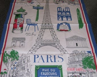 Paris Tea Towel Dish Towel Eiffel Tower Beauville France Large Vintage