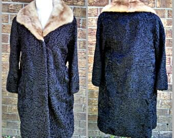 Vintage Women's Fur Coat, Black Astrakhan with Red Fox Fur Collar, Authentic Persian Lamb, Knee Length Coat, Mid Century, Circa 1950s