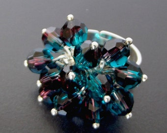 Teal and Garnet Swarovski® Crystal Cluster Ring, Adjustable Statement Ring, Bold Dress Ring, Red and Blue Ring, One Size Fits Most