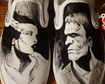 Frankenstein's monster and bride of Frankenstein hand painted shoes