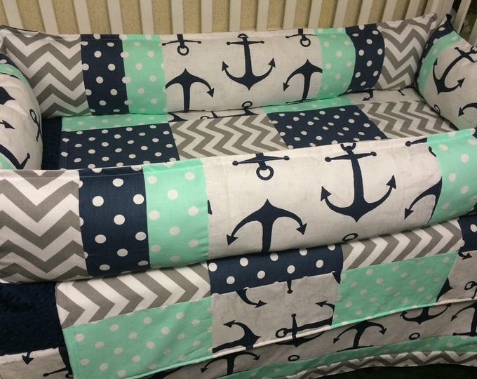 Anchor/Nautical Baby Bedding with Navy, mint, and white. Gender neutral crib bedding/Boy Crib Bedding/ Girl Crib Bedding with Bumpers