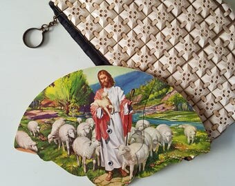 1940s Tri-fold Church Fan The Good Shepherd / A. Scheer