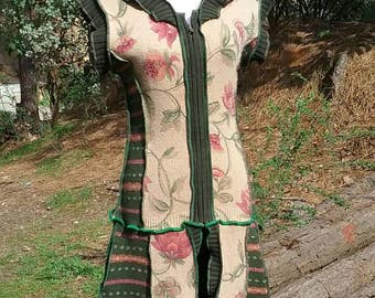 Garden Rose and forest green upcycled duster