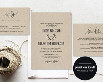 Rustic Wedding Invitation, Antler Wedding Invitation, Wedding Template, Invitation Set, Wedding Printable, PDF Instant Download #BPB289_1