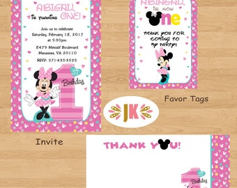 Minnie Mouse 1st Birthday Invitations  and more... DIGITAL FILE (S) UPRINT