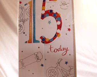 You're 15 Today  Skateboard and Bicycle Birthday Card