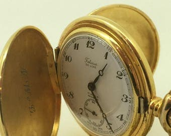 Gold-Plated Pocket Watch by Felicia De Luxe with fob chain. Incabloc, 17 jewels.