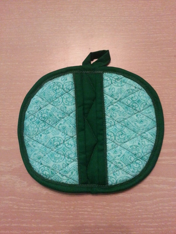 "Handmade ""Green Paisley Heart Print "" Potholders / Trivets"
