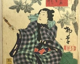 Japanese original Ukiyo-e Woodblock print, Kunisada, Edo-period.