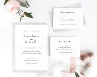 Modern Wedding Invitation Suite, Wedding Invitation Printable, Invitation Set, Wedding Invitation Rustic, Letter or A4 (Item code: P223)