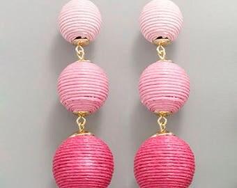 Pink Ombre 3 Cord BonBon Drop Earrings