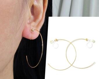 0.5 x 35mm Large Golden Hoop Clip On Earrings |D15G| Invisible Dainty Clip On Hoop Earrings, Non Pierced Magnetic Earrings Alternative,