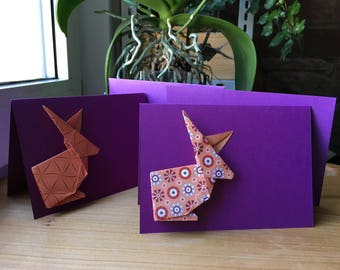 2 sweet folded cards using origami paper Bunny - Easter cards set