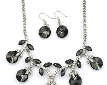 Elegant sparkling crystal silver necklace earrings set